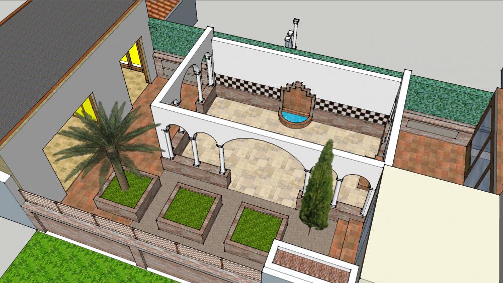 Dessin 3D d'un patio