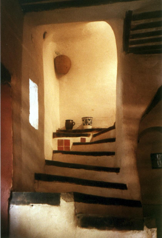 Escalier provençal chêne et plâtre