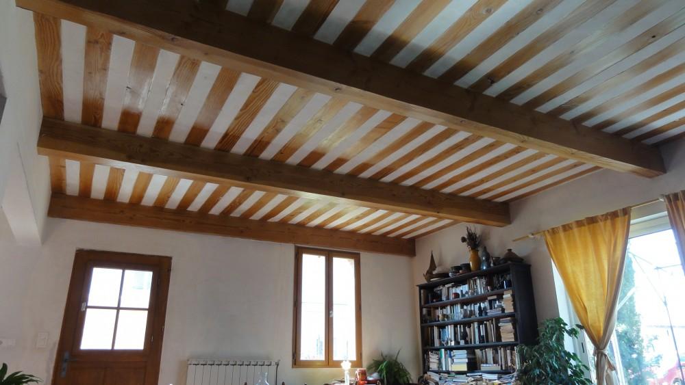 Plafond à la provençale, bois et plâtre