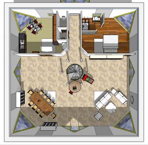 Partie jour : à droite la chambre d'ami ou un bureau