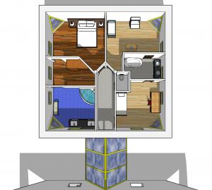 Partie nuit : à gauche, la suite parentale ; à droite, les chambres d'enfant