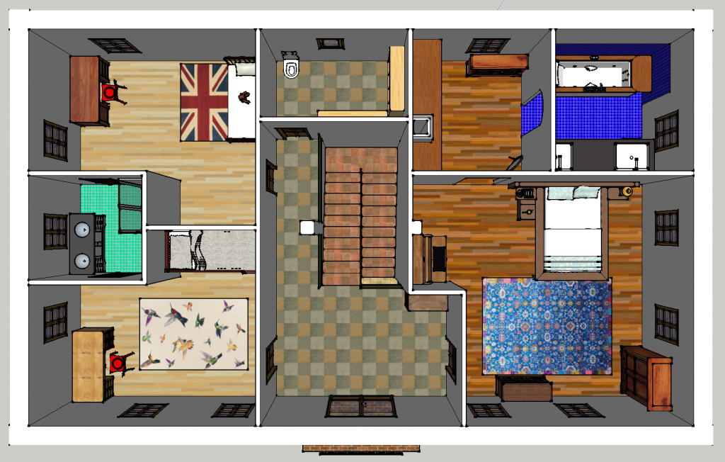 Plan perspectif de l'étage. A droite, la suite parentale. Deux chambres à gauche, avec leur salle de bain