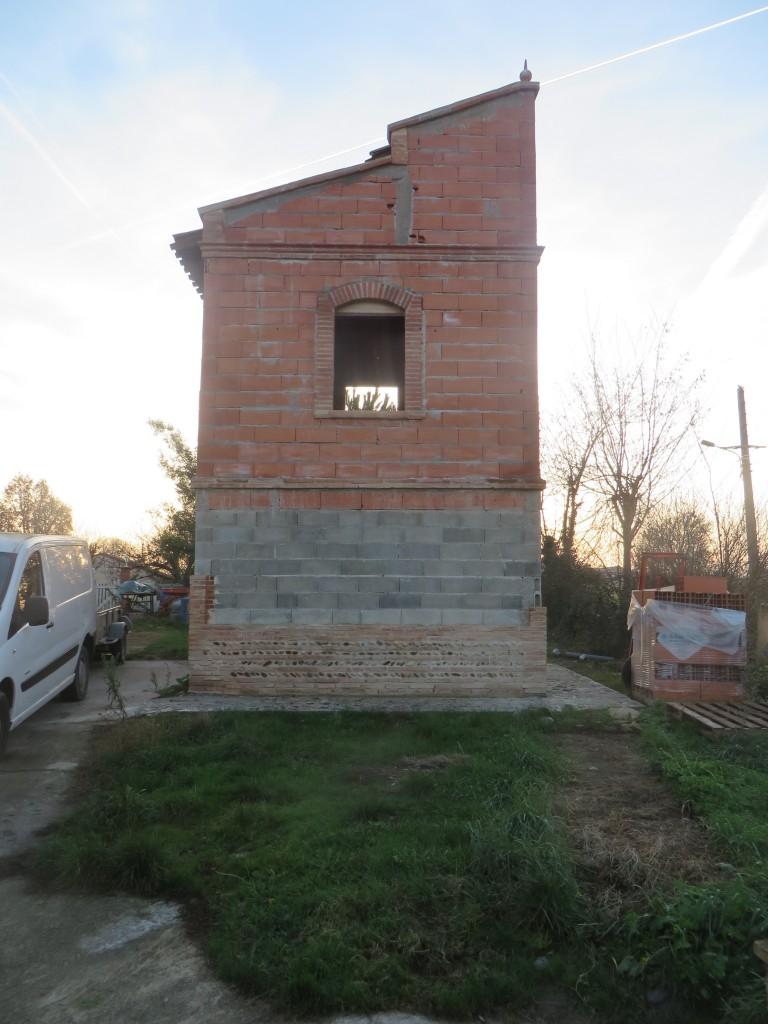 Pigeonnier avant enduits, auto-construction, façade Est