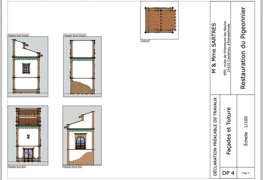 Plan du pigeonnier pour permis de construire