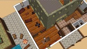 Porche, entrée; bibliothèque et salon