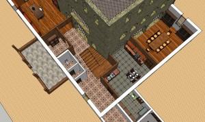 Porche, entrée, cuisine et salle à manger