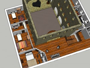 Les chambres, le salon d'étage et la nef