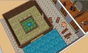 """Cloître, piscine et """"plage"""""""