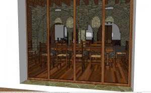 La salle à manger à travers la fenêtre
