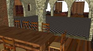 Le salon et la biliothèque depuis la salle à manger