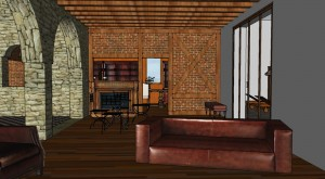 Le salon, au fond le bar et la bibliothèque