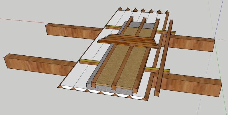 Dessin d'un plafond à la provençale, vue de dessus. Double plancher isophonique.