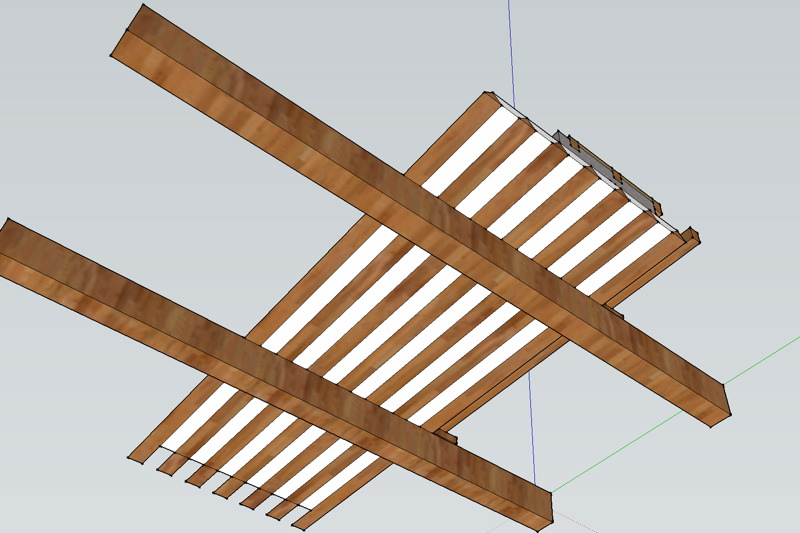 Dessin d'un plafond à la provençale, vue de dessous