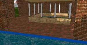 Le cloître vu depuis la piscine